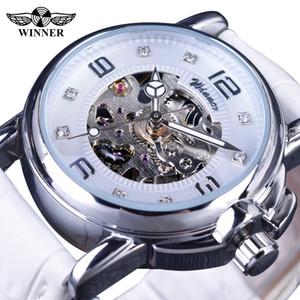Vencedor 2019 Ladies Diamond Display Mulheres Top Marca de Luxo Branco Esqueleto Simples Transparente Caso Relógios Mecânicos Automáticos + Caixa de Relógio