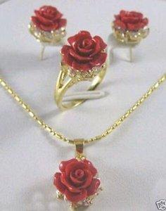 Cospay da donna Pretty Crystal Red Coral Rose Flower Pendente Orecchini Set da donna ^^^ @ ^ GP style Fine