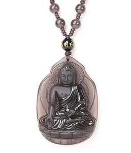 Charming Ice Clear Natural Obsidian Carved Lotus GuanYin Buddha Amulet Pendants Free Necklace Fashion Jewelry Man