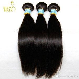 В России Straight Virgin Hair 3шт Необработанные Русский человеческих волос Weave Связки Natural Black шелковистые прямые волосы Remy Extensions Doub