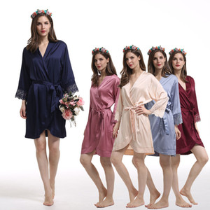 Satin Chiffon Bridesmaid Robes 2020 Custom Design Bridesmaid Gifts Embroidery Bridal Party Robes 3 4 Long Sleeves XXL XXXL Pajama Party Wear
