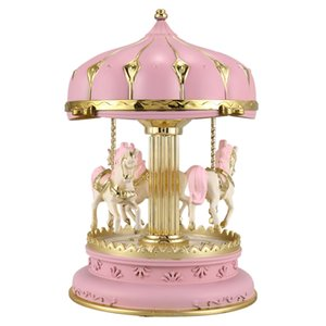 LED Music Box Carousel Round Music Boxes Decor Glowing Carousel Horse Music Box Christmas Wedding Birthday Gift