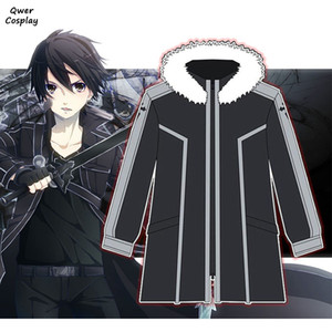 Disfraces Coat animado SAO Sword Art Online Cosplay con capucha Kirigaya Kazuto KIRITO caliente espesa con capucha chaquetas de lana con cremallera
