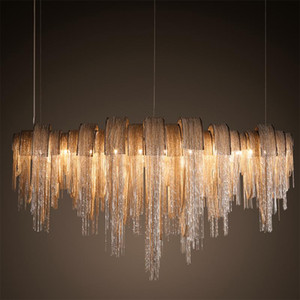 New design LED aluminum chandeliers  light Chain woven chandelier gold silver