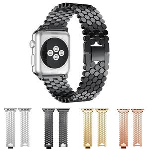 Venda Por Atacado de metal de aço inoxidável faixa de relógio sólida para apple watch series 4 3 2 1 iwatch 40mm 44mm 38mm 42mm cinta com fivela de gancho