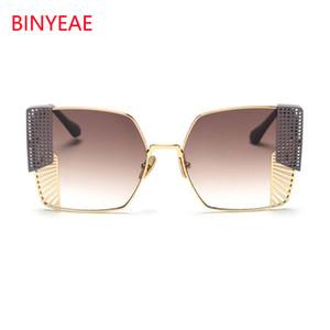 Оптово-золотые черные солнцезащитные очки Квадратные очки High Fashion Designer Brand Негабаритный металлический каркас Бутик очков Oculos De Sol C19041201