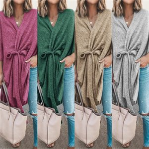 Sweater Womens Casual V Neck Tops Solid Color Womens Designer Knits Fashion Loose Long Sleeve Cardigan