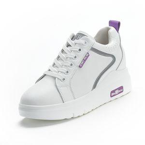 Echtes Leder Wedge Sneakers Femme Weißbeschuhten Frau vulkanisierte Schuhe Frauen Heels 6cm Ästhetische Schuhe Schuhe Damen Sommer