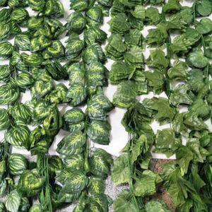 Piante artificiali 12PCS pianta artificiale fiore di seta Grape Leaf Hanging Ghirlande Faux Vite nozze di decorazione per casa