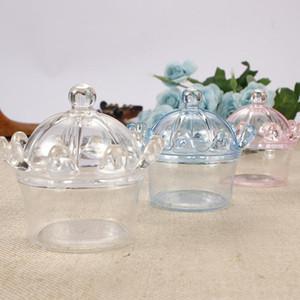 Caixas de doces com Transparente Crown plástico 12pcs Shaped / lot Baby Shower partido do evento Decoração do casamento de aniversário suprimentos XD23031