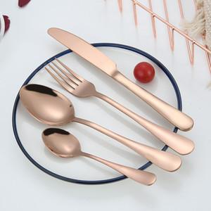 Ustensile fourchette couteau cuillère à thé en acier inoxydable Kit vaisselle de vaisselle 4 pièces / Set Colorful Couverts Couverts Cuillère DH0280
