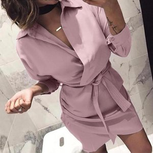 ELSVIOS 2020 Women Summer Shirt Dress Casual solid Long Sleeve Turn-Down Collar High Street Dress Blet Elegant Office Dresses
