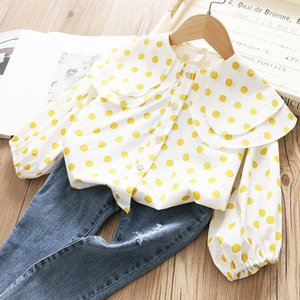 2020 New Products Childrenswear Girls Double Layer Ruffled Collar Long-sleeved Shirt Spring Children Baby Dotted Sweet Shirt