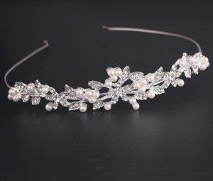 Accesorios de ropa de boda del tocado de la flor de joyería de la boda de Corea del diamante de la perla de la corona de los niños de la novia