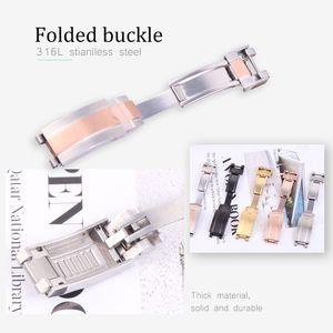16mm nouvel argent or rosegold déploiement fermoir pour les bracelets de montre en caoutchouc de silicone Fold Buckle pour montre sous-marine Glidelock + outils