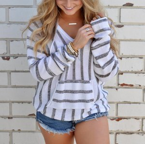 Fashion-Striped Hooded Pullover Coat Girl Long Sleeve Loose Hoodie Jumper Sweatshirt Hooded Knitwear Tops 4 Colors 10pcs OOA3998