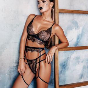 Nueva ropa interior atractiva de 3 fotografías / set Sistema atractivo para el cordón de las mujeres ahueca hacia fuera la ropa interior M-3XL envío