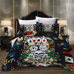 Set di biancheria da letto morbida di lusso King Twin Queen Size per copriletto per adulti Suit 2 / 3pcs con dadi da poker con teschio di biancheria da letto
