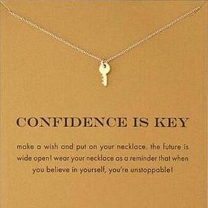 카드로! Dogeared 목걸이가 귀여운 실버 골드 컬러 (자신감 열쇠) Key Pendant Necklaces Inspirational Necklace