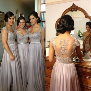Elegante silberne graue lange Brautjungfernkleider Pailletten SpitzeApplique bodenlangen Chiffon Günstige Maid Honor-Abend-Partei-Kleider