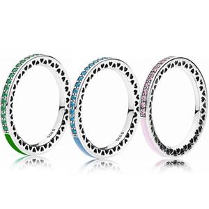 3 colori del cuore dello smalto coppie Anelli per Pandora 925 delle ragazze delle donne d'argento gioielli con i set di scatola originale ANELLO