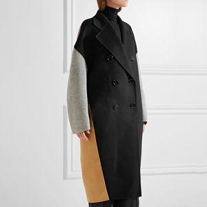 Contrast Color Patchwork Oversize Woolen Long Coat Pockets Winter Coat Women Long Sleeve Slim Jacket