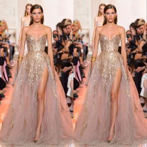 Elie Saab lateral de Split vestidos de noche brillantes vestidos de baile de novia con lentejuelas brillante del tren del barrido del partido del vestido formal de encargo trajes de soirée