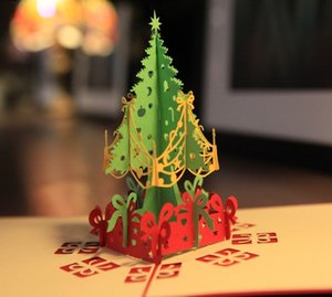 Eco-Friendly Christmas Greeting Cards 3d Handmade Pop Up Greeting Cards Gift Card Xmas Gift Paper Gift Card Party Holiday Invitation