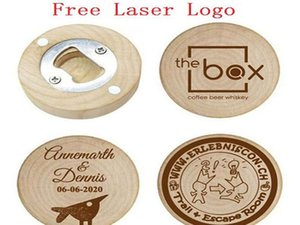 Personalized Wedding Favors and Gifts For Guest Wooden Round Bottle opener Fridge Magnet Wedding Decoration Free laser logo