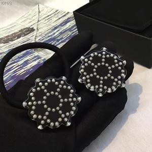 Moda perla copo de nieve acrílico cuerda para el cabello cabello banda de goma letras sello lujo joyería de moda regalo vip