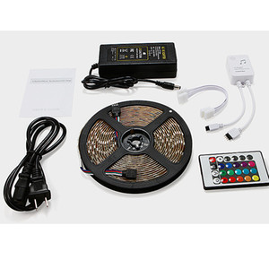 RGB LED Strip Light 5050 5M IP65 300LED Light Rgb Waterproof Music Leds Tape Ribbon Flexible Mini IR Controller 12V5A Adapter Set DBC DH1156