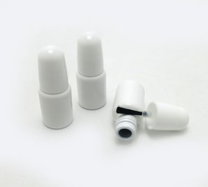 30 x 3ml Mini Nail Polish Bottle White Glass Packing Bottle with Black Brush Cap Cosmetic Container Separate Accessories