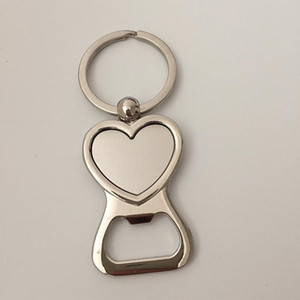 100pcs Diy Photo Heart Shaped Metal Beer Bottle Opener Keychain Keyring for Wedding Party Gift Key Chain Key Rings US DHL Free Shipping