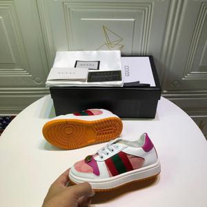 Kinder Designer Turnschuhe Mädchen Luxus Metallknopfdruck Flache Schuhe Jungen Streifen Skateboard Schuhe Rutschfeste Schuh Jugendliche EUR 26-35 2020 Frühling