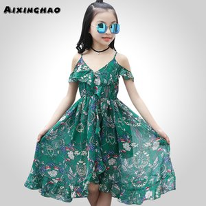 Aixinghao 보헤미안 여름 드레스 캐쥬얼 걸스 비치 Sundress 10 대 어린이 틴 옷 6 8 10 12 Year Q190522