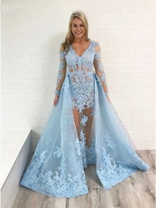 2 Pieces Prom Dresses with Detachable Overskirt Light Sky Blue Lace Long Sleeve V Neck Women Evening Party Fomal Occasion Gowns