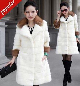 Mulheres do inverno Moda Faux Coats Collar Médio Longo Casacos Feminino Imitação Rex Rabbit Fur Outerwear 4xl Branco W763