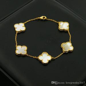 2018/19 bracciali Clover Shell in acciaio inossidabile 316L con quadrifoglio in agata nera per donna Bracciale fiore argento in oro rosa con marchio
