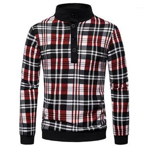 Bahar Erkek Tasarımcı Giyim Erkek Tasarımcı Ekose Polos Moda Yaka Yaka Uzun Kollu Polos Casual Tortum