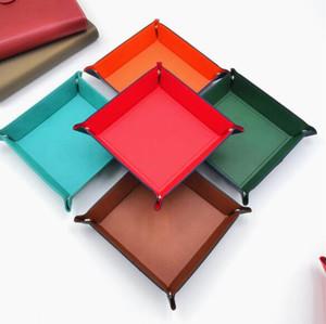 Caixa de armazenamento PU Tray Square para Dice Games Table Key Carteira Coin Box Bandeja desktop caixa de armazenamento Bandejas