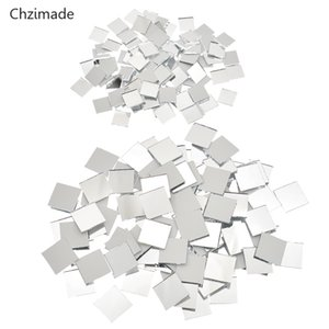 Chzimade 100 Pieces Small Square Glass Mirror Mosaic Tiles Bulk For DIY Craft Supplies Home Decoration Materials