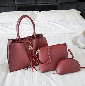 3 Piece Composite Bag Women Handbags High Quality Shipping Bag Big Shoulder Bags Pure Color Travel Bag