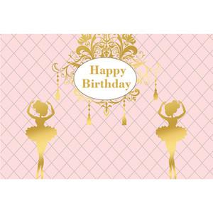 Personalizado Feliz Aniversário Pano De Fundo Cor Rosa Impresso Ballet Meninas Bebê Recém-nascido Do Chuveiro Prop Crianças Partido Temático Foto de Fundo