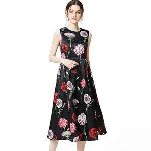 2019 robes de piste pour femmes O cou sans manches imprimé floral ruché élégant mi-mollet robes d'été décontractées