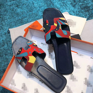Genuine Leather Slippers Women Luxury Designer High Quality Brand Slides Women Shoes Square Toe Ladies Summer sandals ff