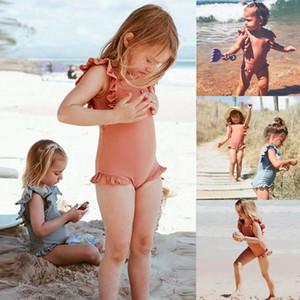 Bébés filles Maillot une pièce Summer2020 Maillot de bain fille Volants solide One Piece Maillots de bain manches Plage Maillot de bain enfants A429