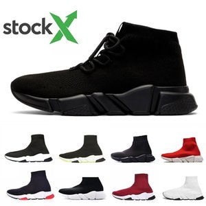 Stock X lace-up Luxury Designer casual sock Shoes lace up Speed Trainer Black Red Triple Black Brand Fashion Socks Trainer sports Sneakers