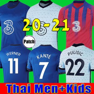 كرة القدم بالقميص تايلاند WERNER PULISIC كانتي ABRAHAM MOUNT ZIYECH 2019 2020 2021 Camiseta دي مجموعات كرة القدم قميص 19 20 21 SETS MEN KIDS.