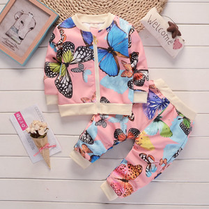 Fashion Sportswear Floral Toddler Baby Kids Boy Girl Outfits Clothes Tops +Pants Colorful Butterfly Autumn Children Clothing Set