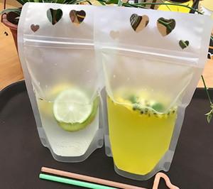 Trasparente Alcol Bag Sacchetti smerigliato Zipper Stand-up Alcol sacchetto di plastica con la paglia succo Outdoor Borse Bicchieri GGA2383